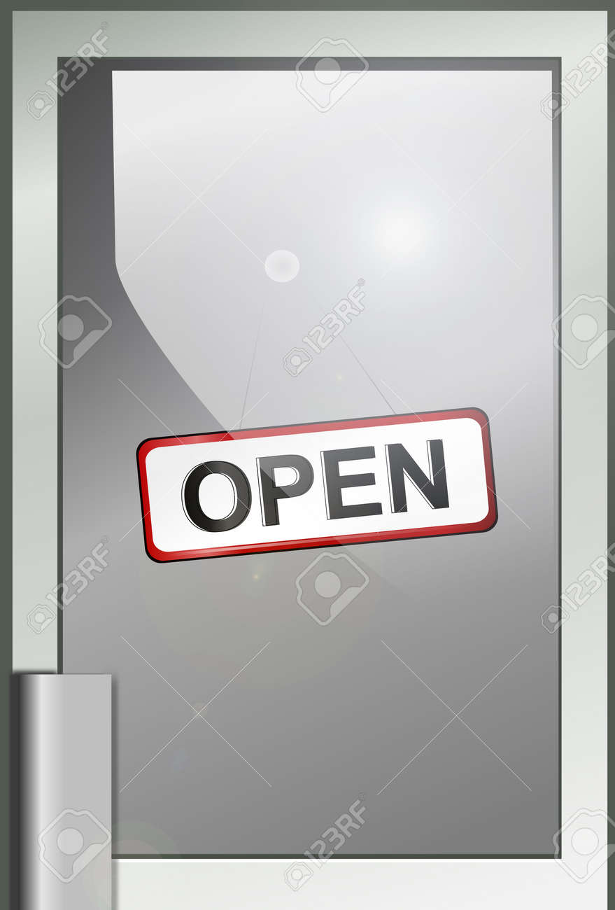 Illustration depicting a shop door with Stock Photo - 11882064