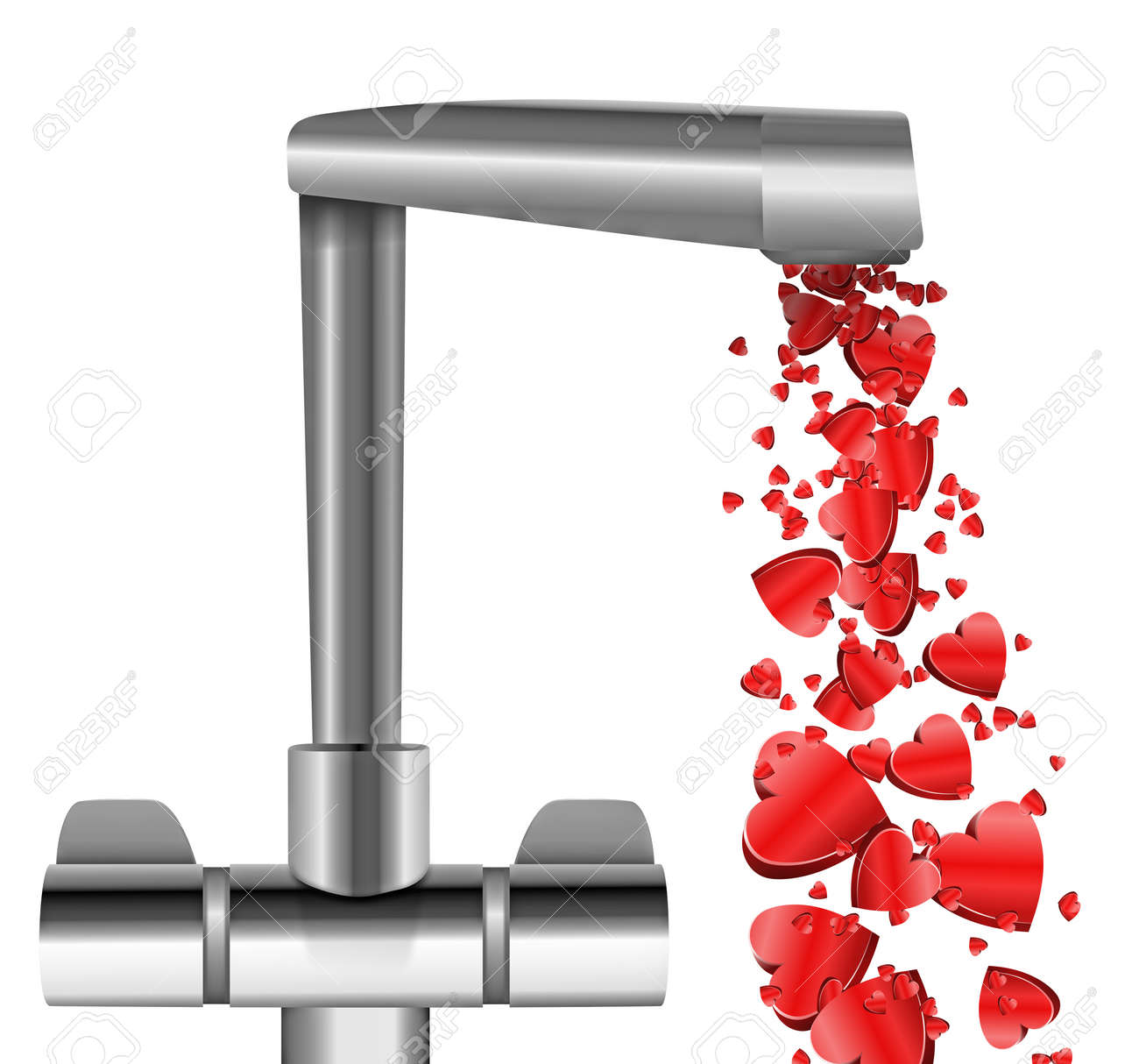 Illustration depicting a chrome water tap with metallic red love hearts flowing from the spout against a white  background. Stock Illustration - 12207924