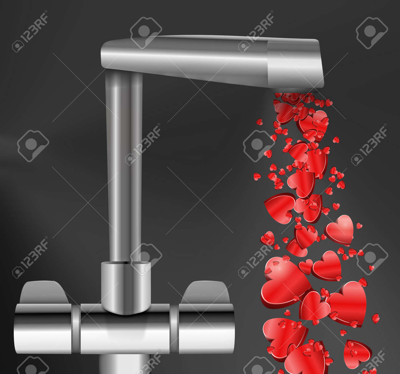 Illustration depicting a chrome water tap with metallic red love hearts flowing from the spout against a dark  background. Stock Photo - 12207923