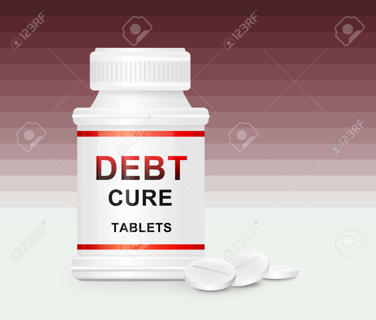 Illustration depicting a single white medication container with the words Stock Photo - 12208089
