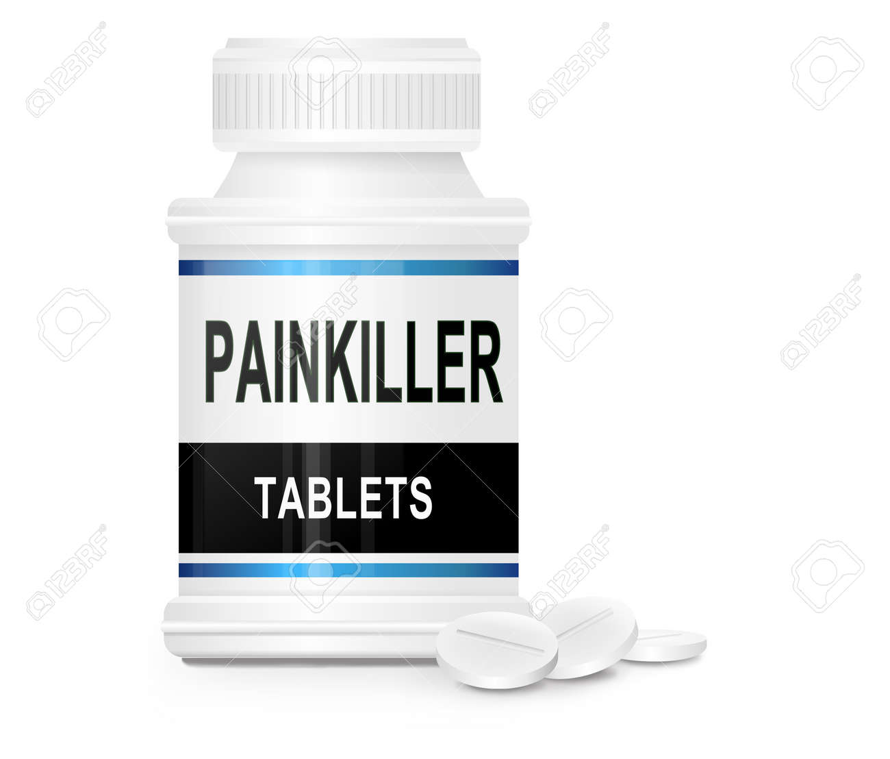 Illustration depicting a single medication container with the words Stock Photo - 12208090