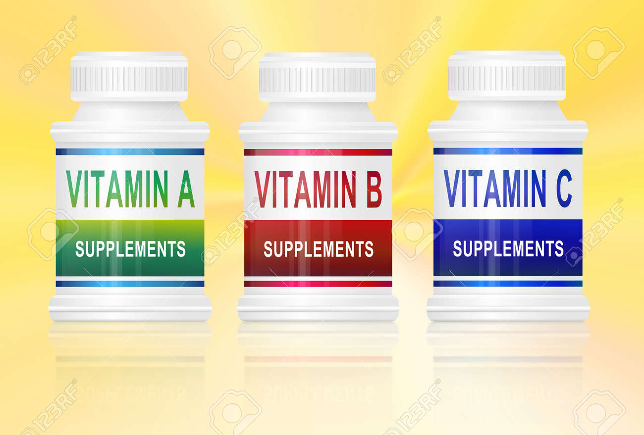 Illustration depicting three medication containers with vitamin labels. Golden yellow light effect background. Stock Illustration - 12739990