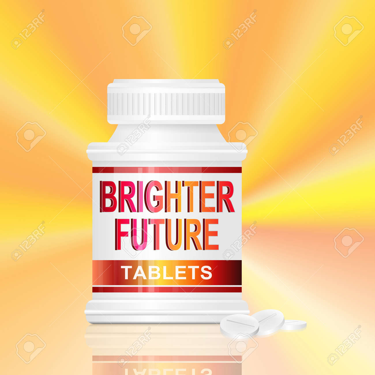 Illustration depicting a single medication container with the words 'brighter future tablets' on the front with golden light effect background and a few tablets in the foreground. Stock Photo - 12739944