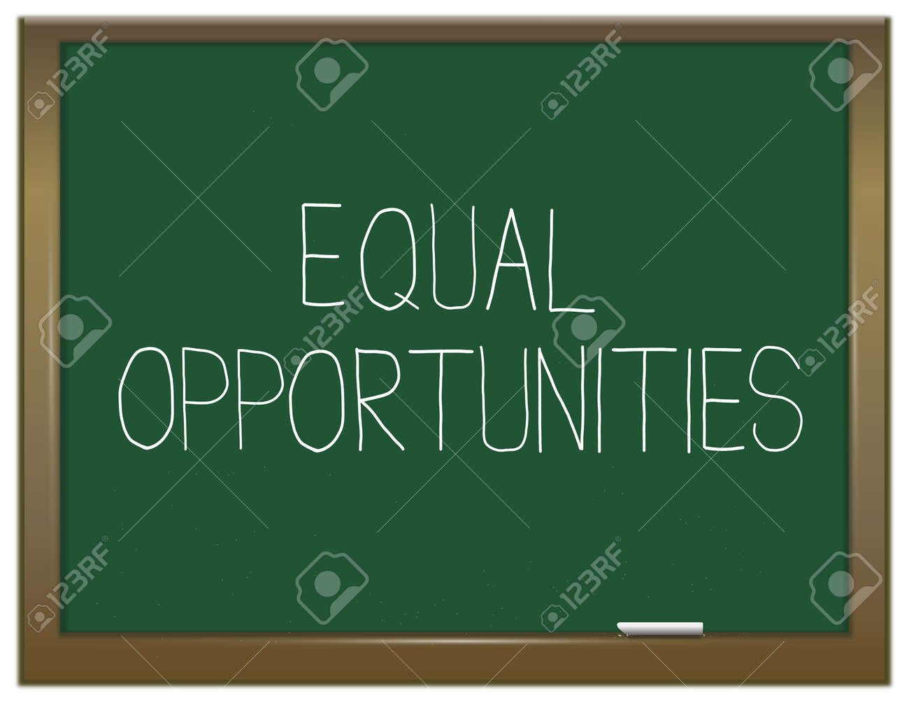 Illustration depicting a green chalkboard with an equal opportunities concept written on it Stock Photo - 13085504