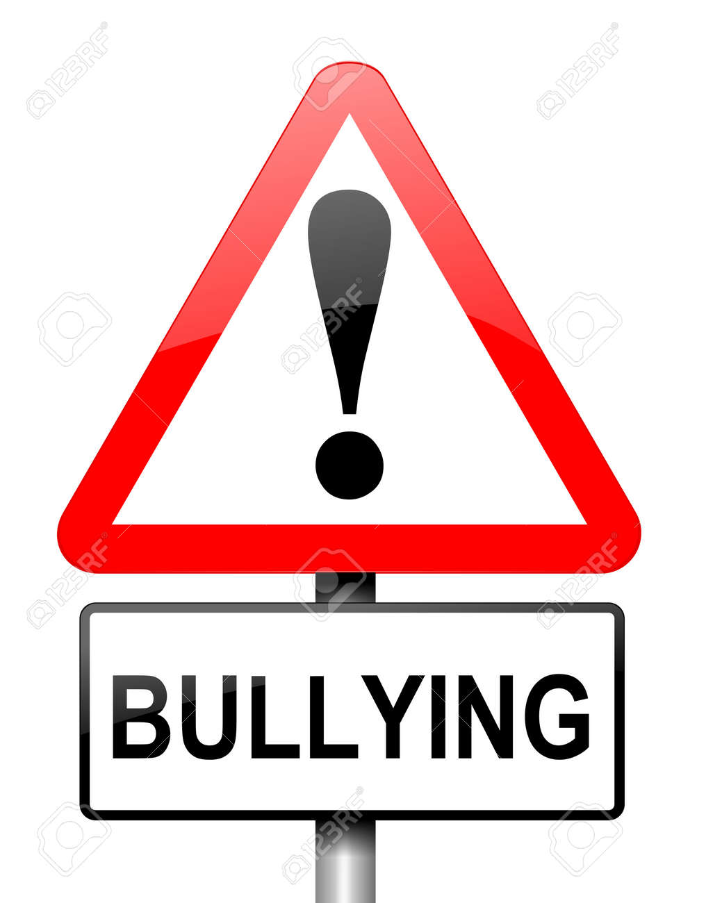 Illustration depicting red and white triangular warning road sign with a bullying concept  White background Stock Illustration - 13218590