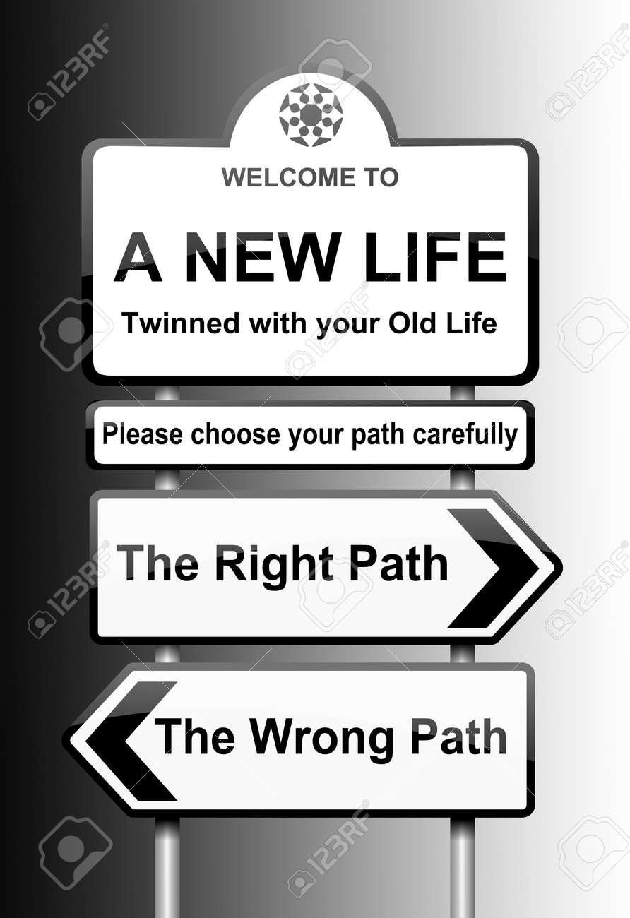 Illustration depicting road signs with a life change concept  Black to white gradient background Stock Illustration - 13269316