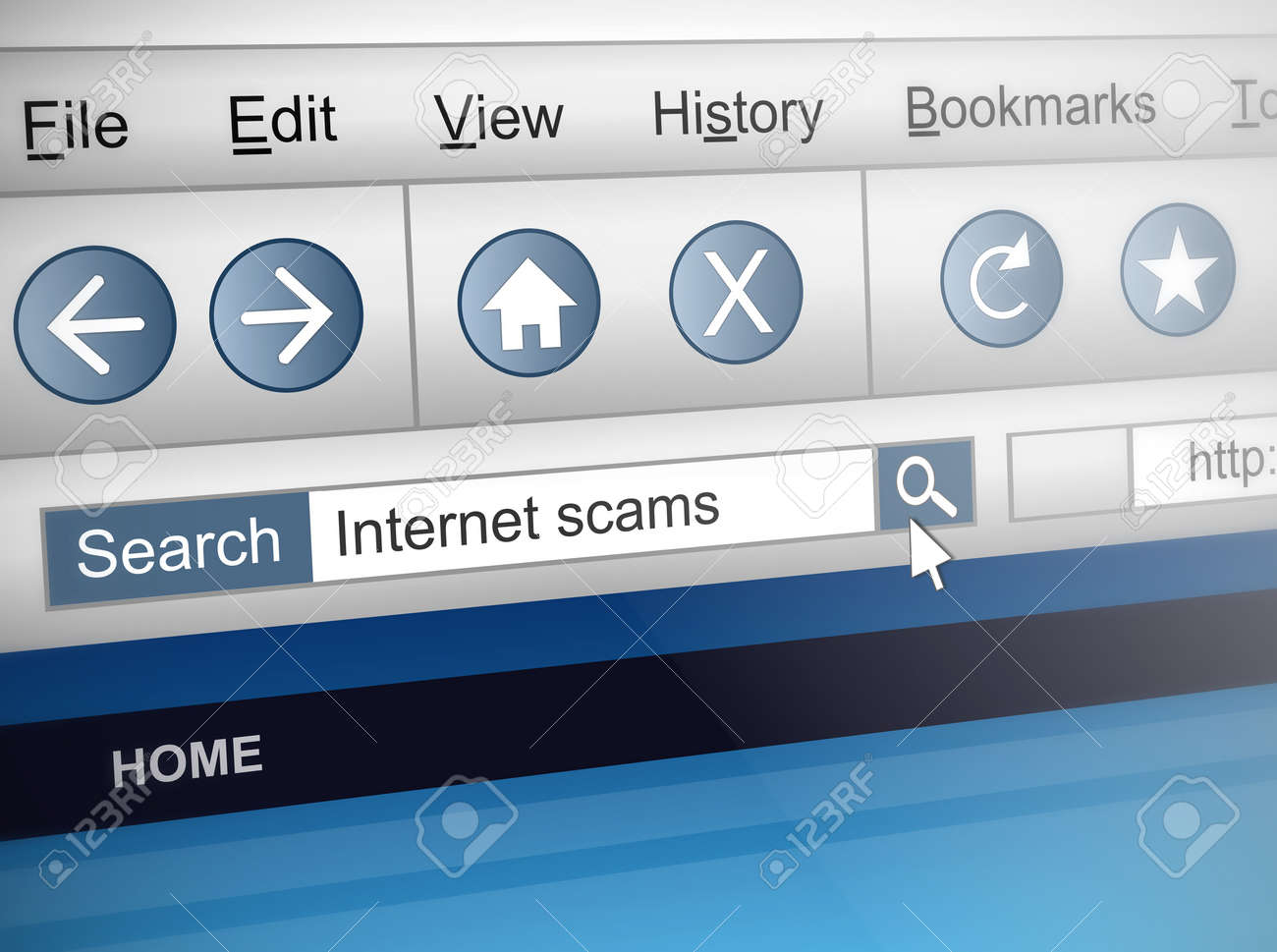 Illustration depicting a computer screen shot with an internet scam search concept. Stock Photo - 13332448