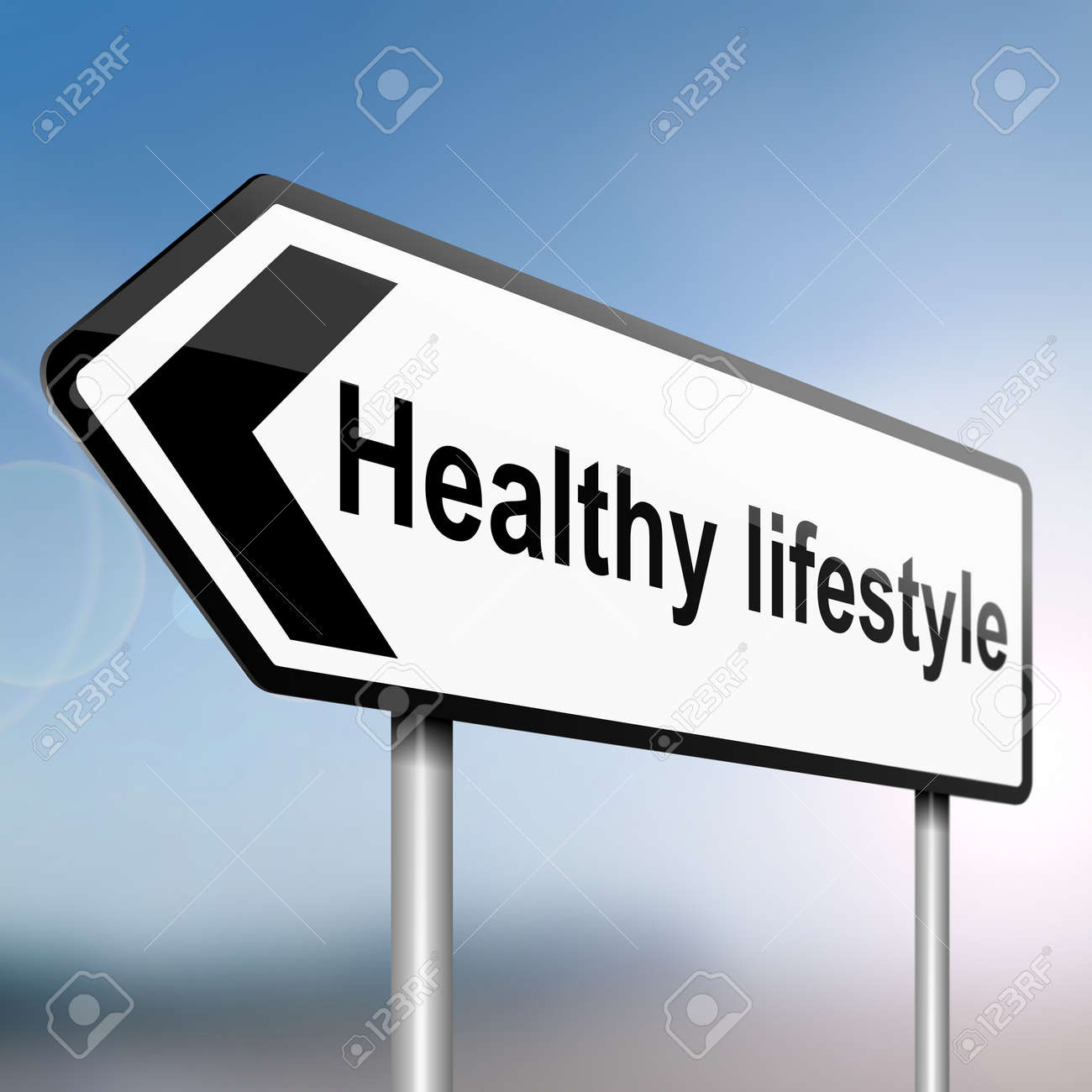 illustration depicting a sign post with directional arrow containing a healthy lifestyle concept  Blurred background Stock Illustration - 13504863