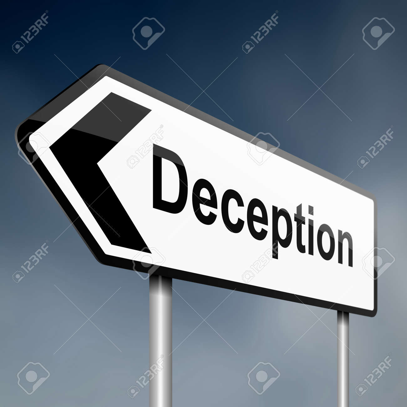 illustration depicting a sign post with directional arrow containing a deception concept. Blurred background. Stock Illustration - 13565494