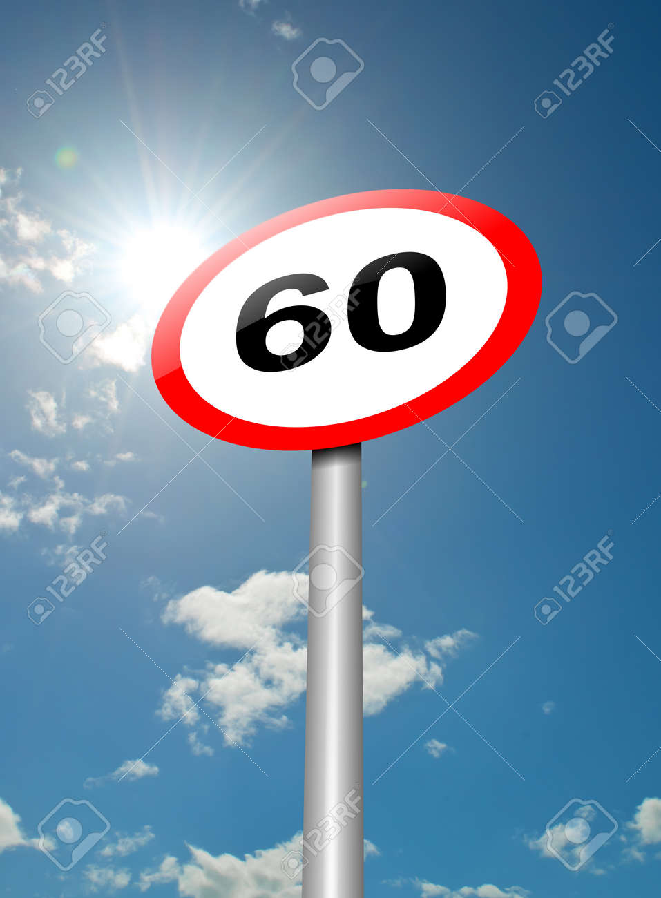 Illustration depicting a speed limit road sign against blue sky and sunlight background Stock Illustration - 13668512