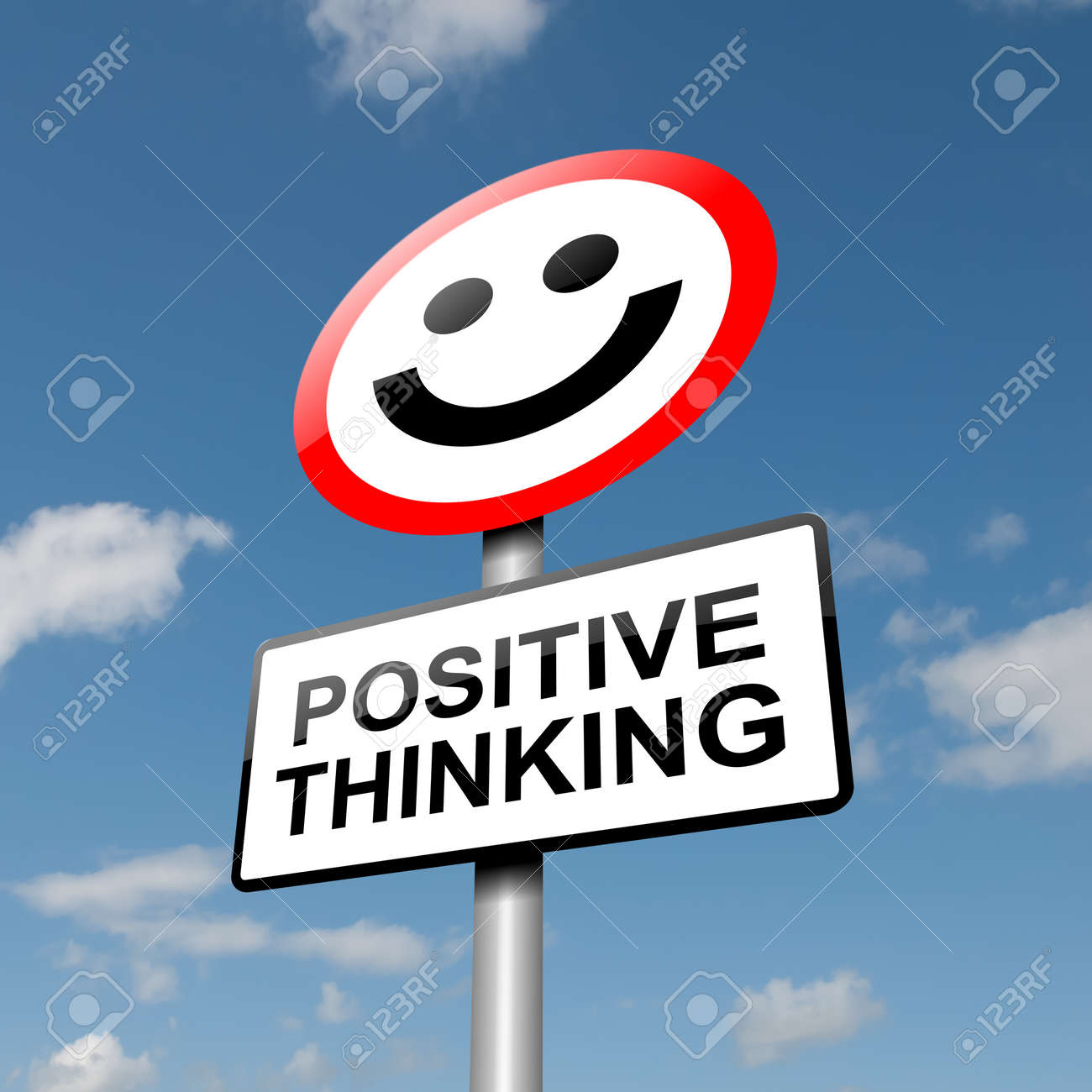 Illustration depicting a road traffic sign with a positive thinking concept  Blue sky background Stock Photo - 13721747