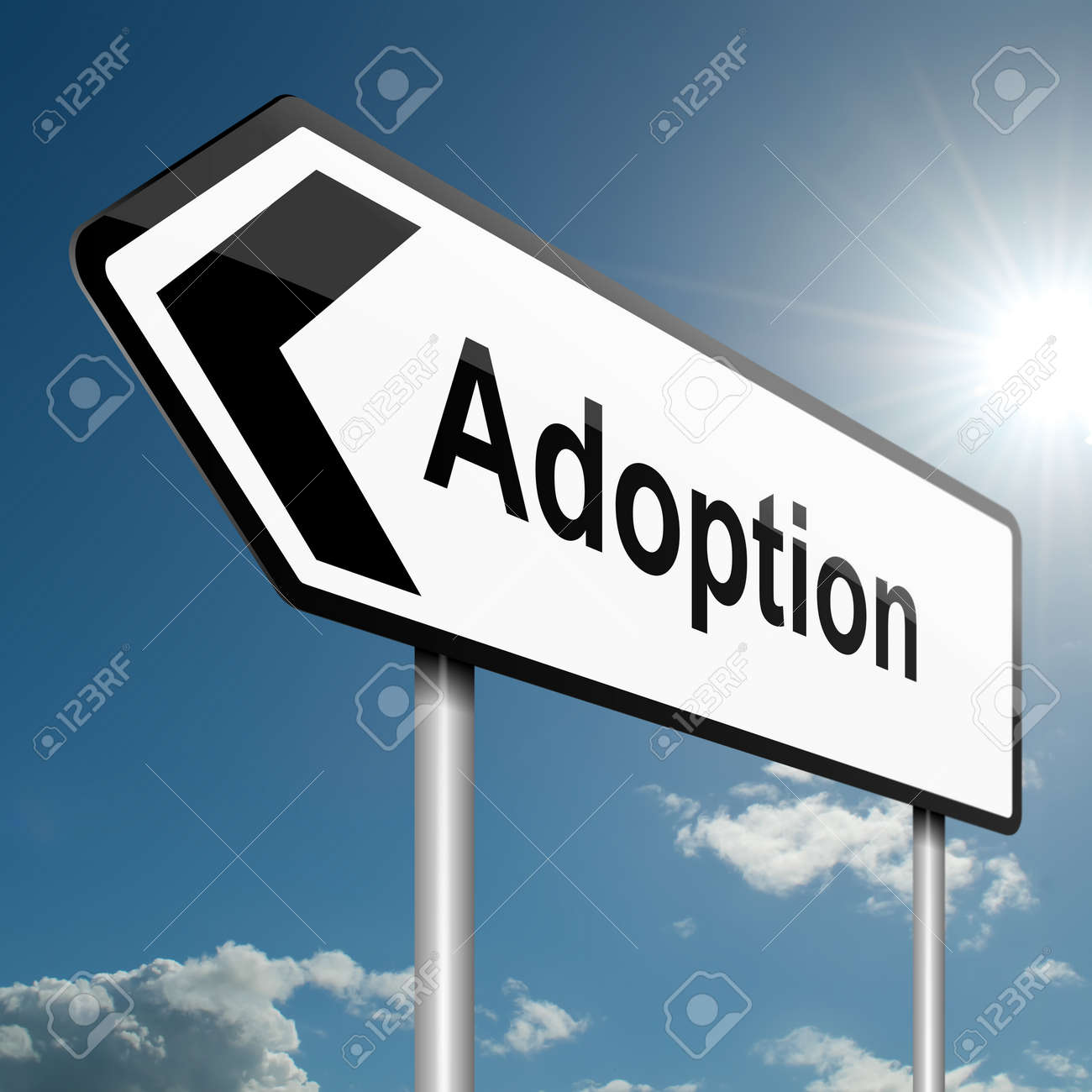 Illustration depicting a road traffic sign with an adoption concept. Blue sky background. Stock Illustration - 13747457