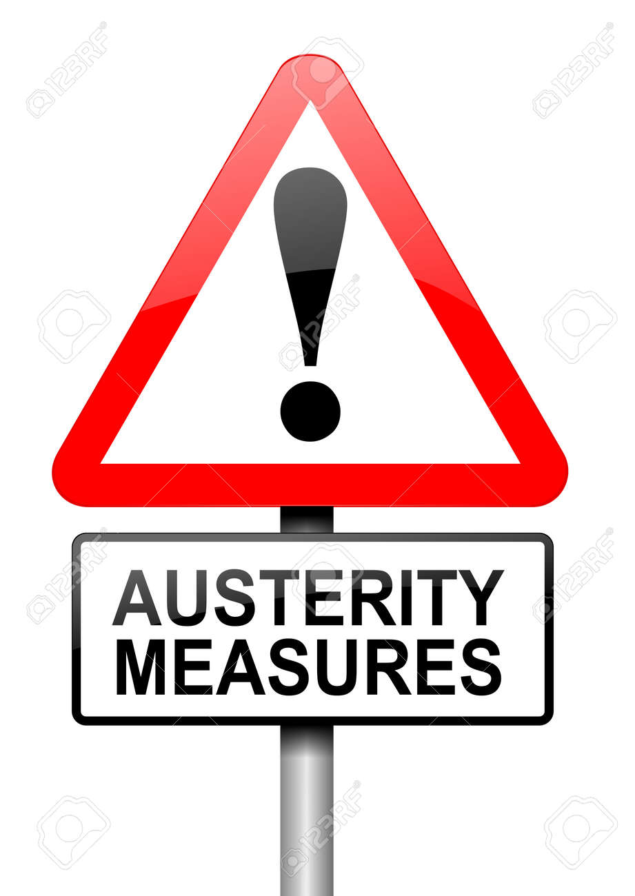 Illustration depicting a road traffic sign with an austerity concept. White background. Stock Photo - 13820746