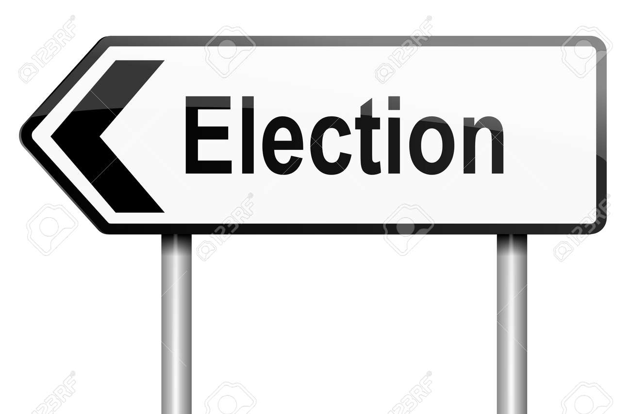 Illustration depicting a road traffic sign with a election concept  White background Stock Illustration - 13844833