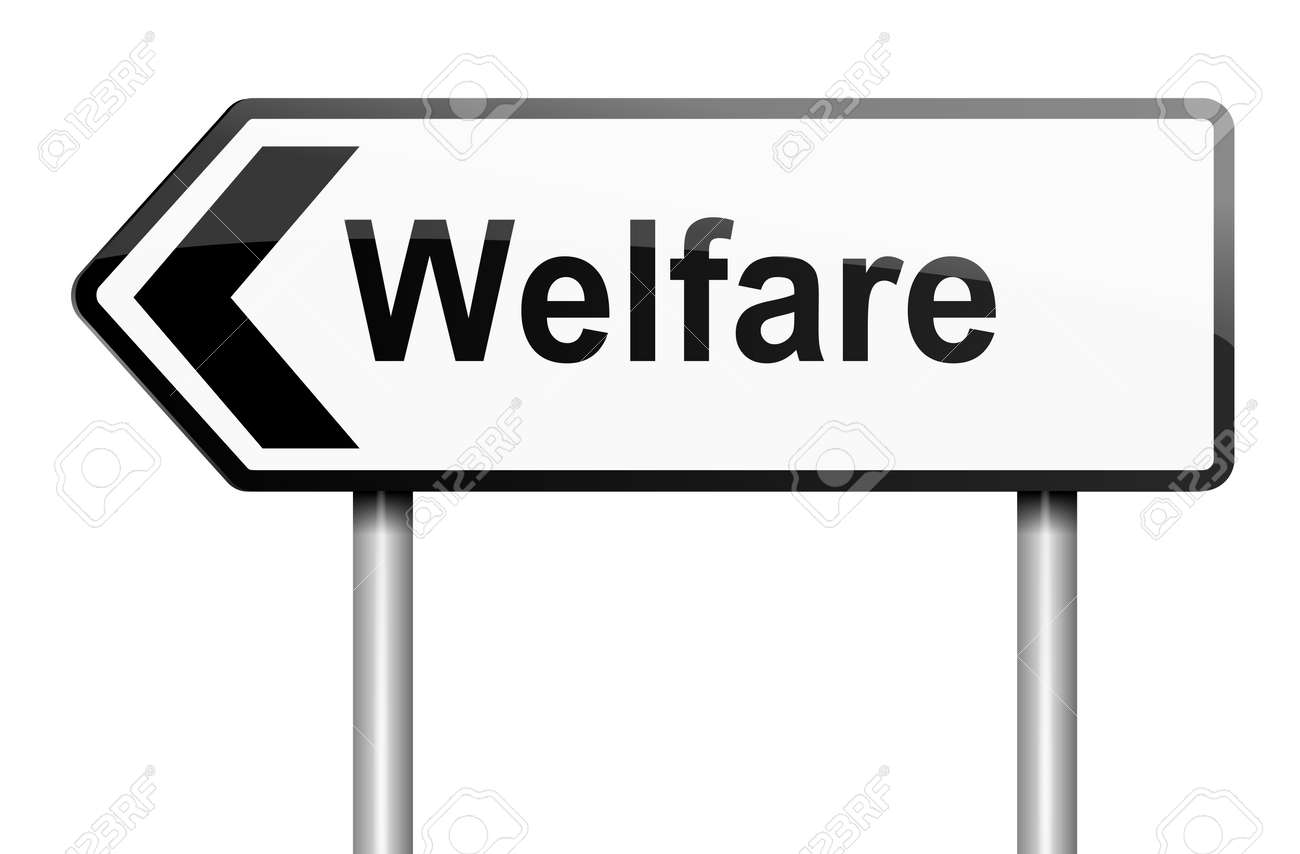 Illustration depicting a road traffic sign with a welfare concept  White background Stock Illustration - 13882078