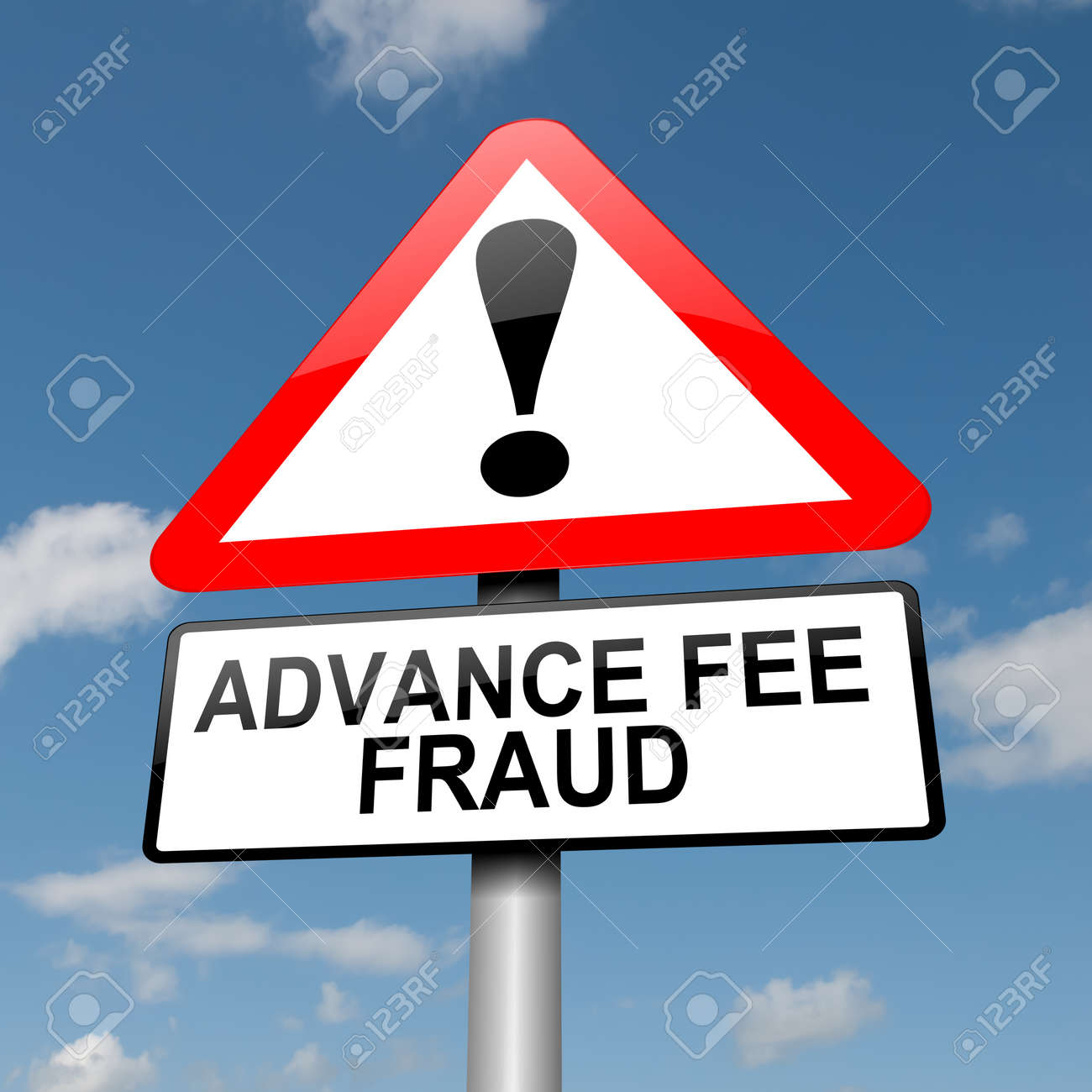 Illustration depicting a road traffic sign with an advance fee fraud  concept. Blue sky background. Stock Photo - 14033878