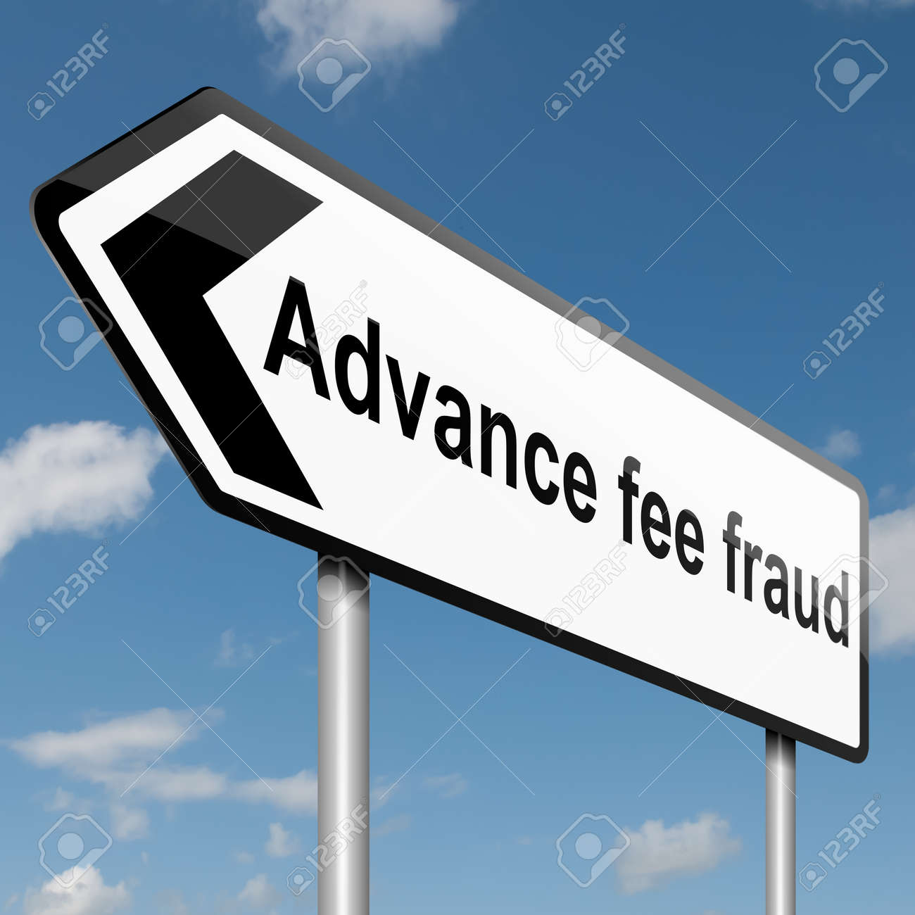 Illustration depicting a road traffic sign with an advance fee fraud  concept. Blue sky background. Stock Photo - 14033876