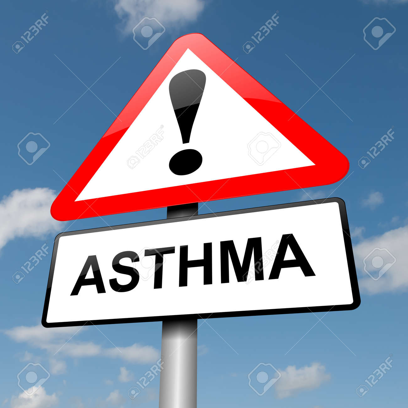 Illustration depicting a road traffic sign with an asthma concept. Blue sky background. Stock Photo - 14103189