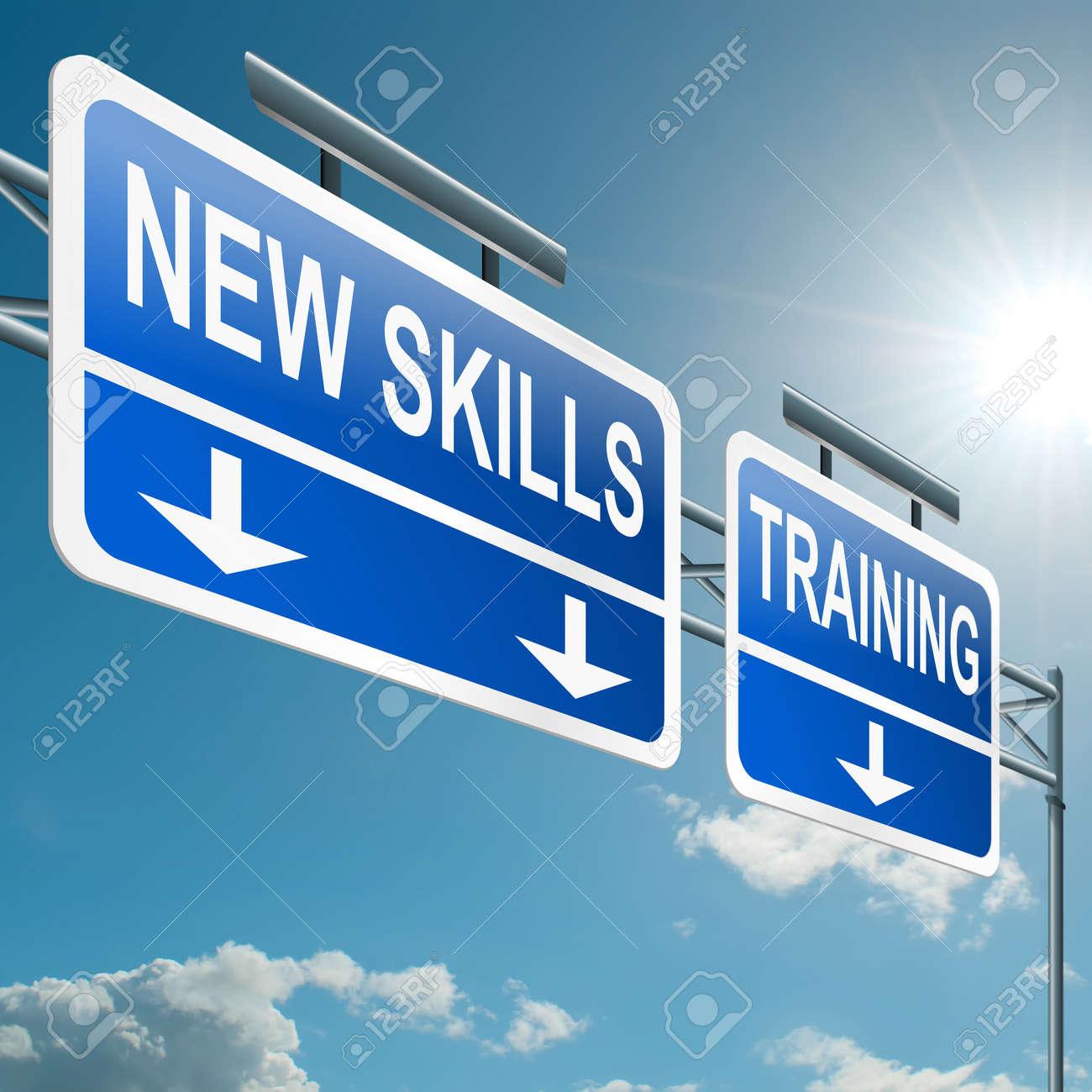illustration depicting a highway gantry sign a new skills illustration illustration depicting a highway gantry sign a new skills and training concept blue sky background