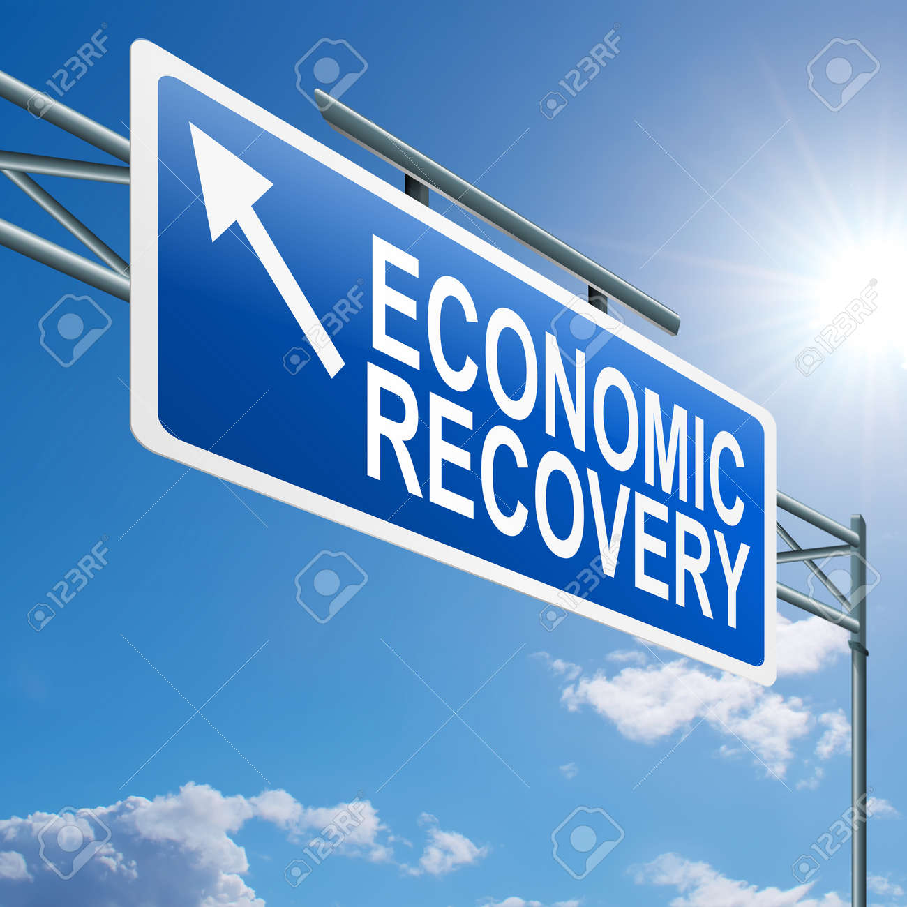 Illustration depicting a highway gantry sign with an economic recovery concept  Blue sky background Stock Illustration - 14191206
