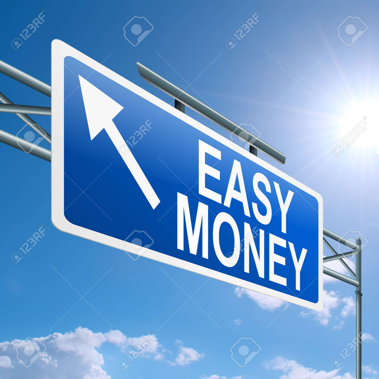 Illustration depicting a highway gantry sign with an easy money concept. Blue sky background. Stock Illustration - 14191221