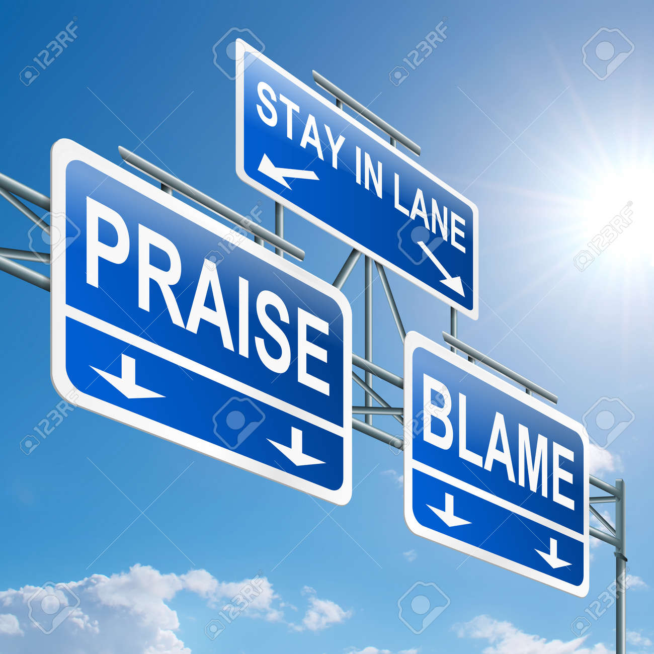 Illustration depicting a highway gantry sign with a praise or blame concept  Blue sky background Stock Illustration - 14368861