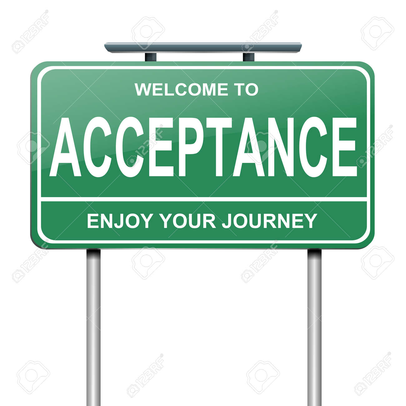 Illustration depicting a green roadsign with an acceptance concept  White background Stock Photo - 14415742
