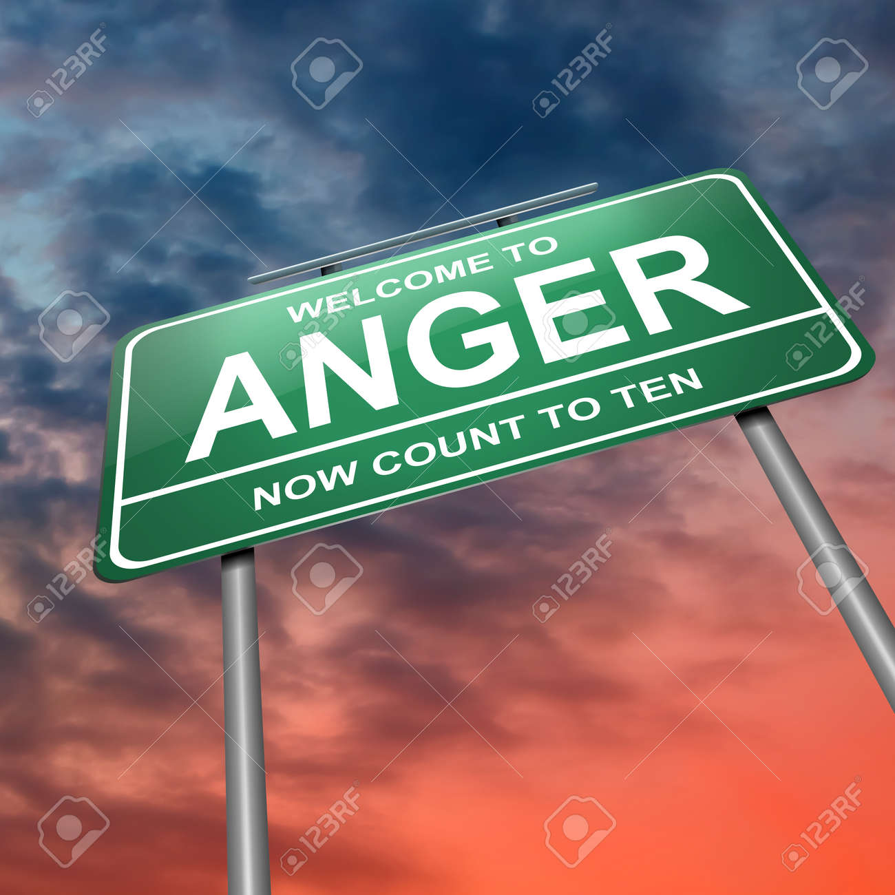 Illustration depicting an illuminated green roadsign with an anger concept. Dramatic sky background. Stock Illustration - 14511581