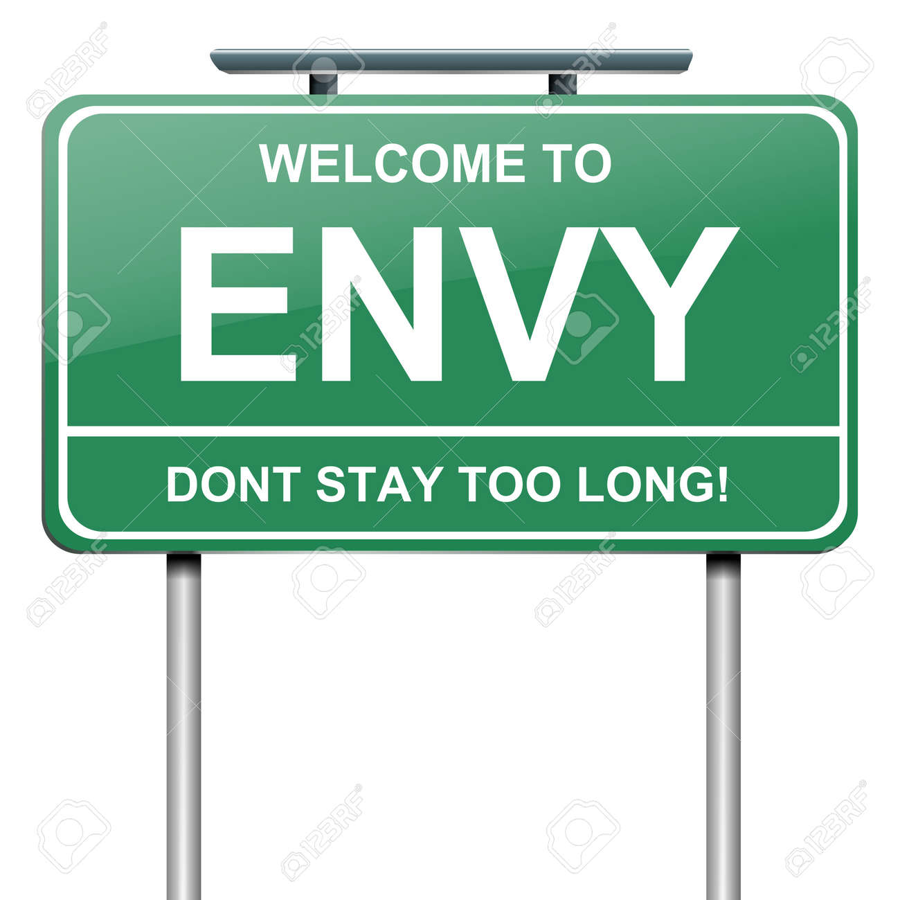 Illustration depicting a green roadsign with an envy concept. White background. - 14511529