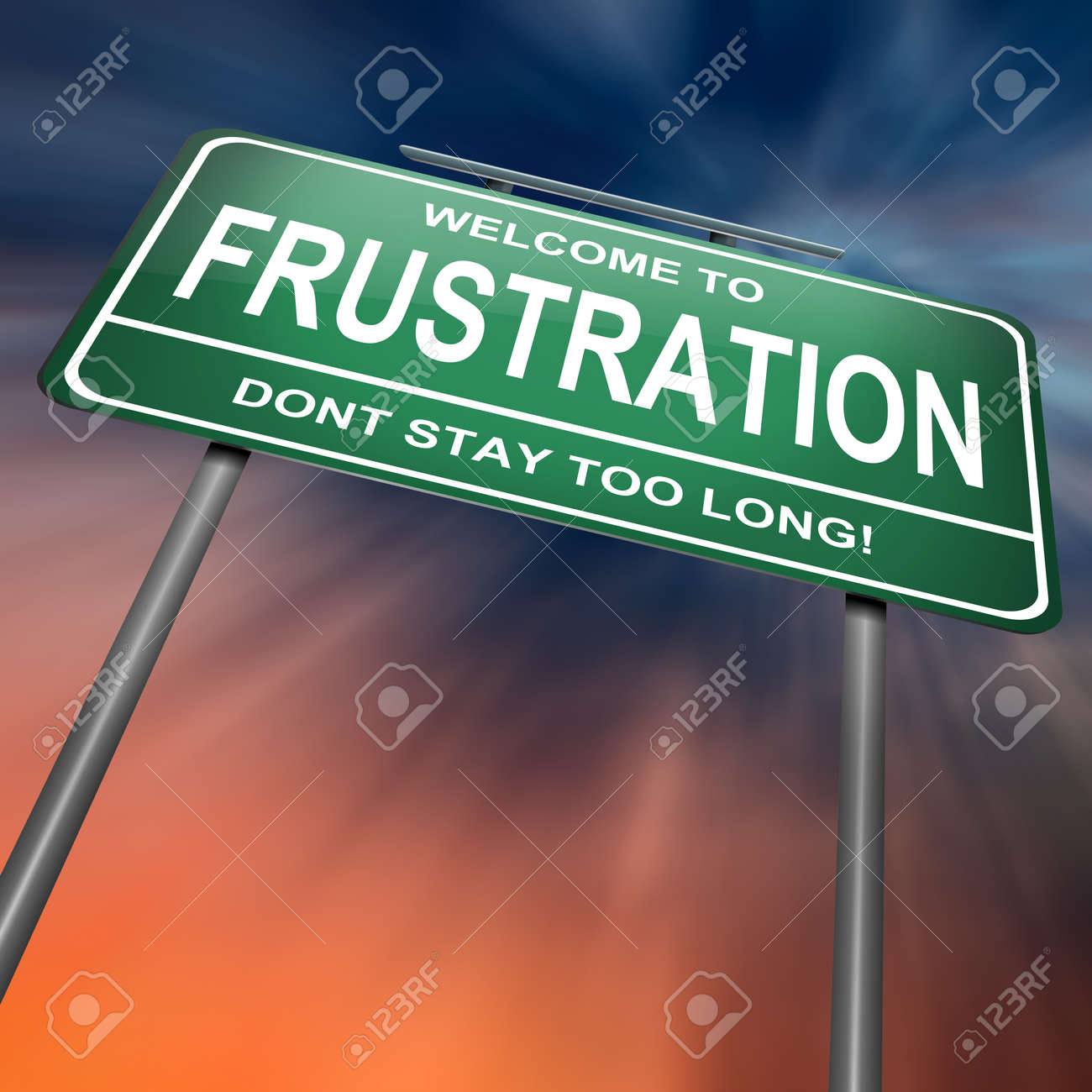 Illustration depicting a green roadsign with a frustration concept. Dramatic abstract background. Stock Photo - 14511589