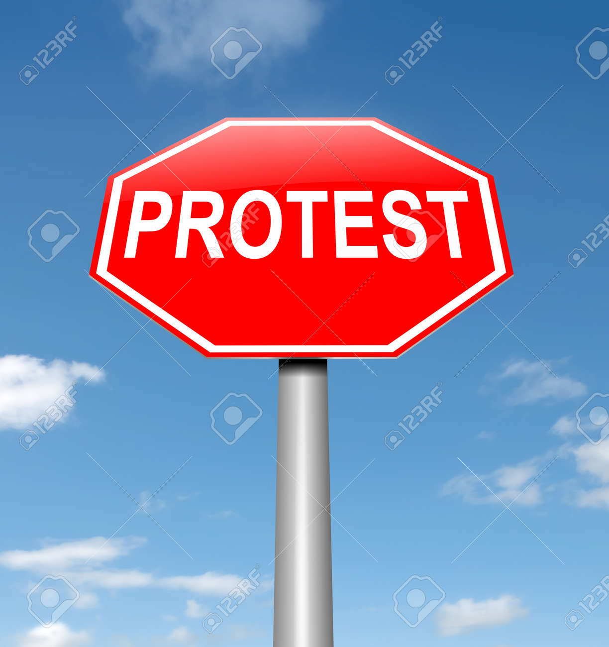 Illustration depicting a roadsign with a protest concept. Sky background. Stock Photo - 15219495