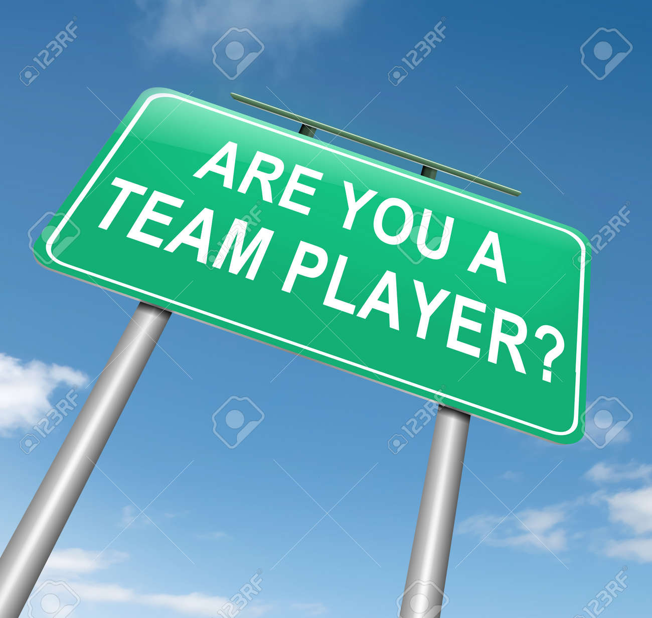illustration depicting a roadsign a team player concept illustration illustration depicting a roadsign a team player concept blue sky background