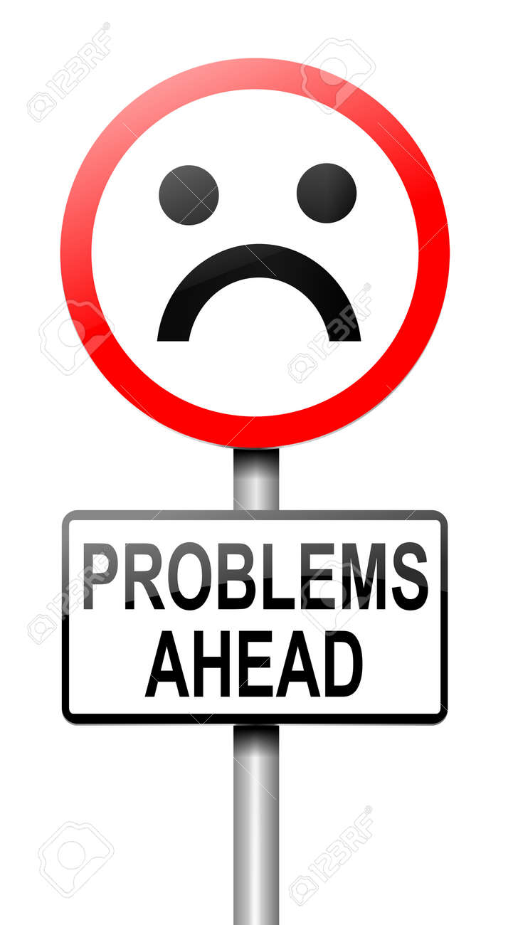 Illustration depicting a roadsign with a problem concept  White background Stock Illustration - 15327808