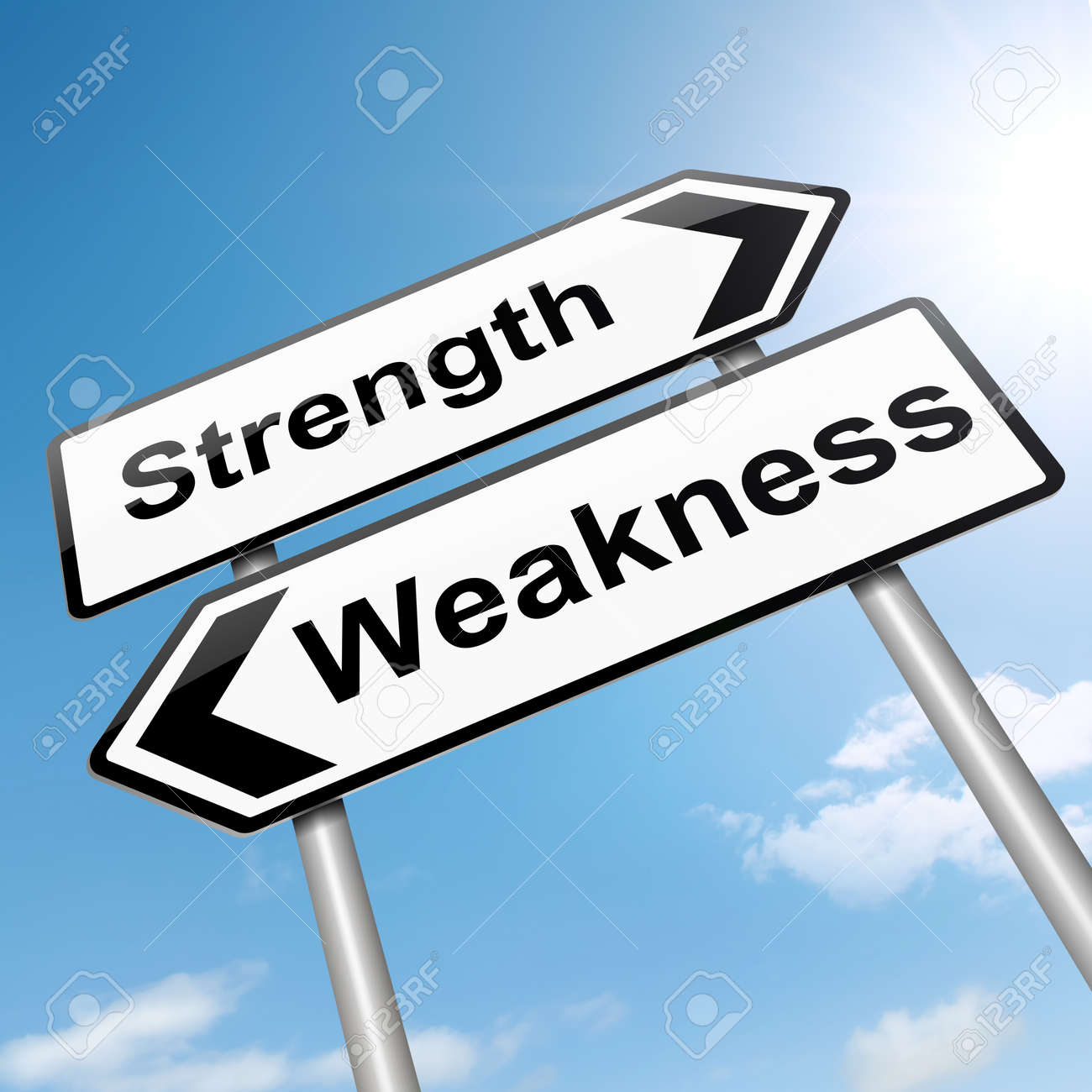illustration depicting a roadsign a strength and weakness illustration illustration depicting a roadsign a strength and weakness concept sky background