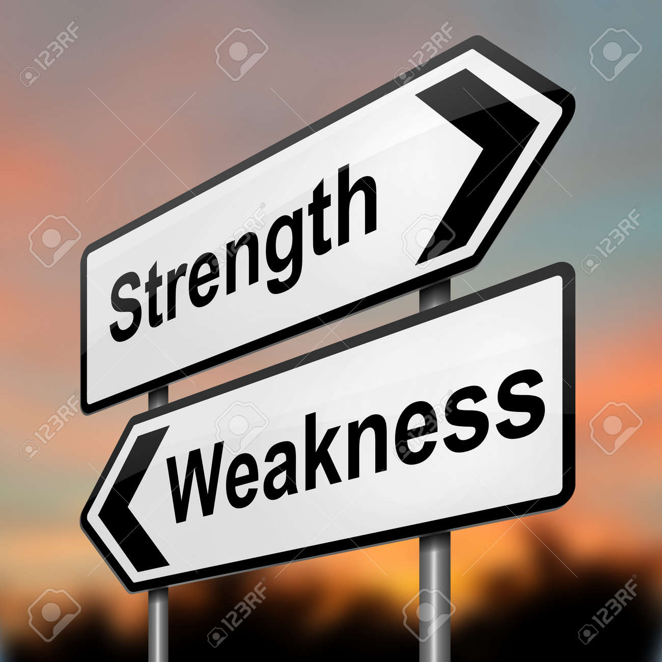 Illustration depicting a roadsign with a strength and weakness concept. Blurred dusk background. - 15428198