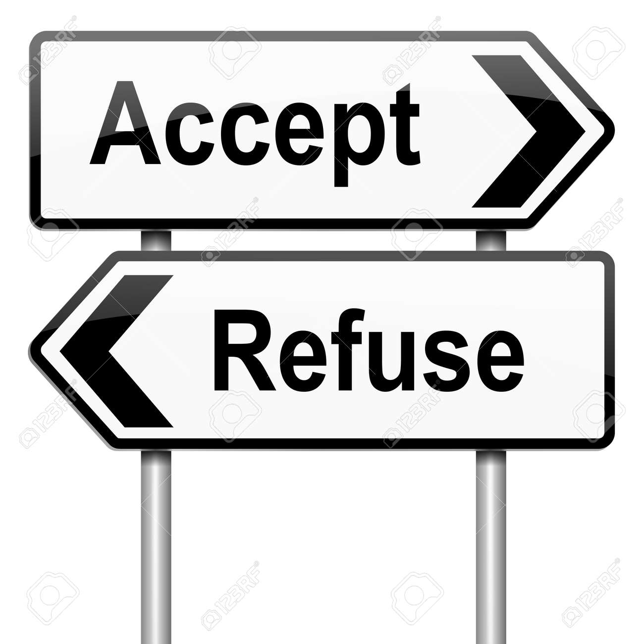 Illustration depicting a roadsign with an accept or refuse concept. White background. Stock Illustration - 15428184