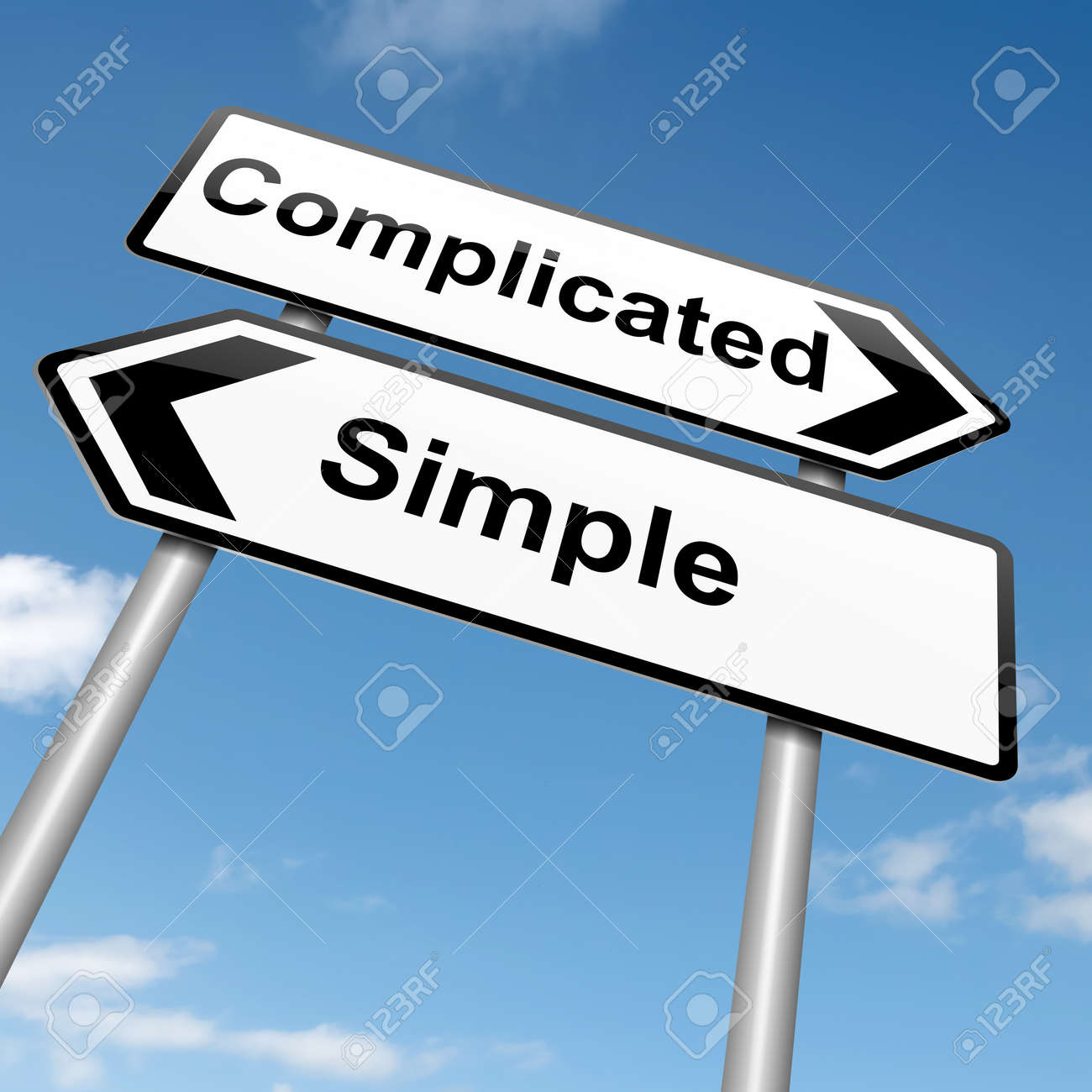 Illustration depicting a roadsign with a complicated or simple concept. Blue sky background. Stock Illustration - 15428202