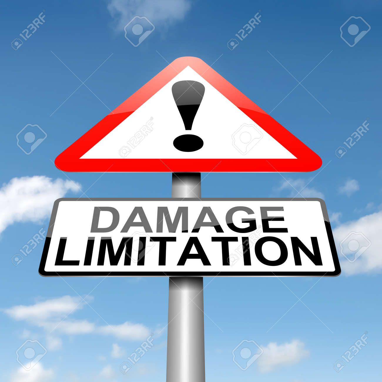 Illustration depicting a roadsign with a damage liability concept. Blue sky background. Stock Photo - 15815804