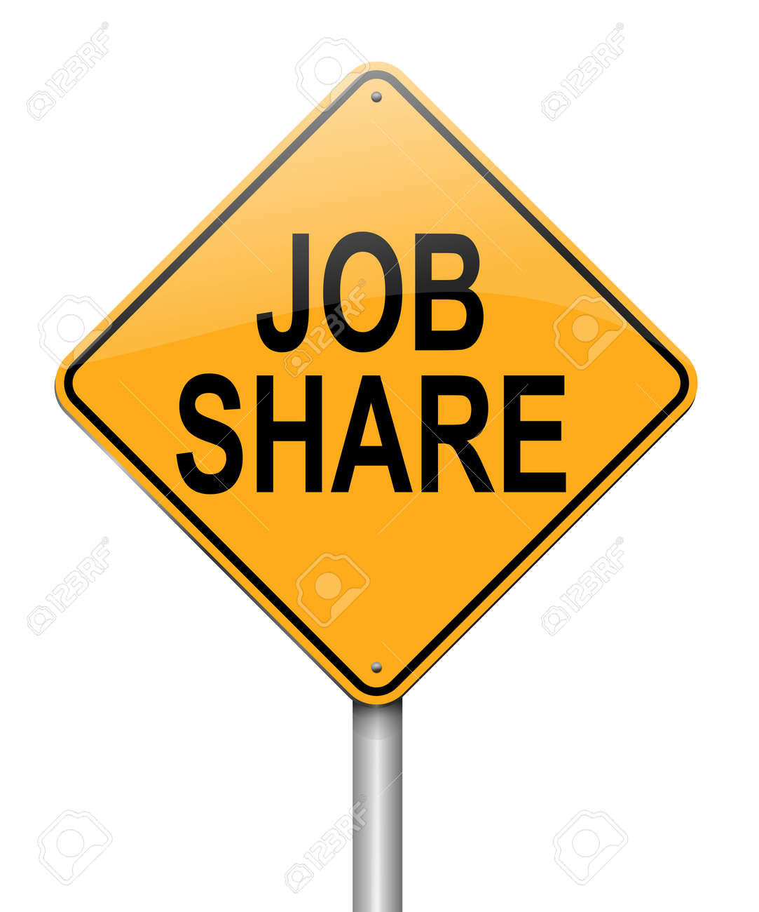 Illustration depicting a roadsign with a job sharing concept. White background. Stock Photo - 15815798
