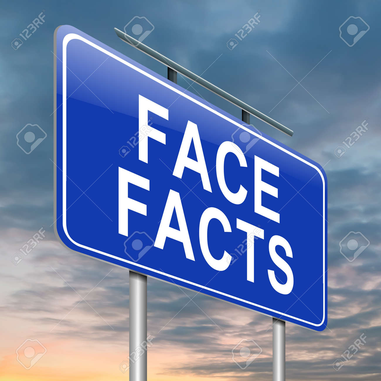 Illustration depicting a roadsign with a face facts concept  Sky background Stock Photo - 15842167