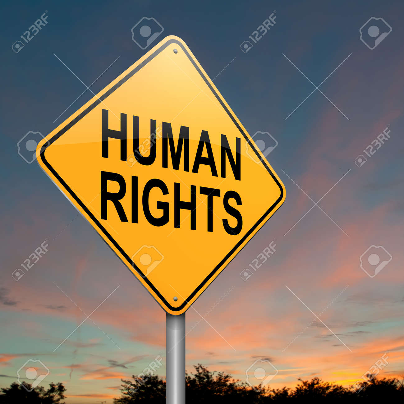 Illustration depicting a roadsign with a human rights concept  Dusk sky background Stock Illustration - 16059678