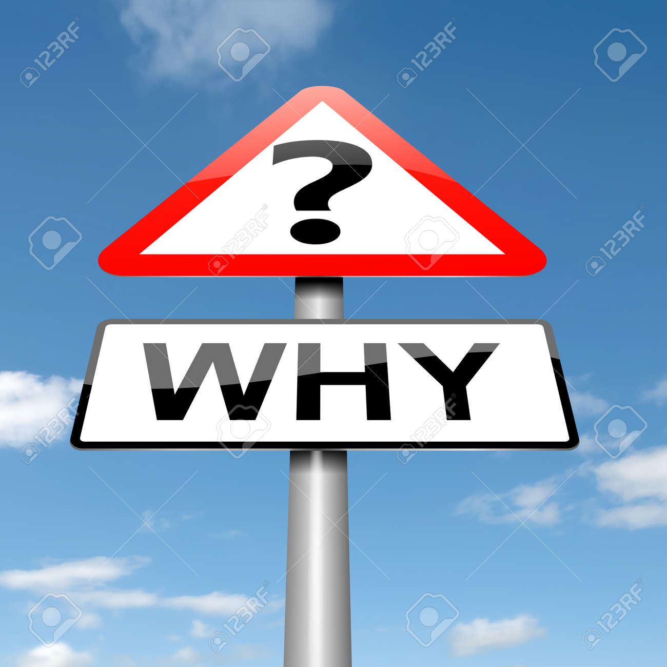 Illustration depicting a roadsign with a why concept. Sky background. Stock Photo - 16059657