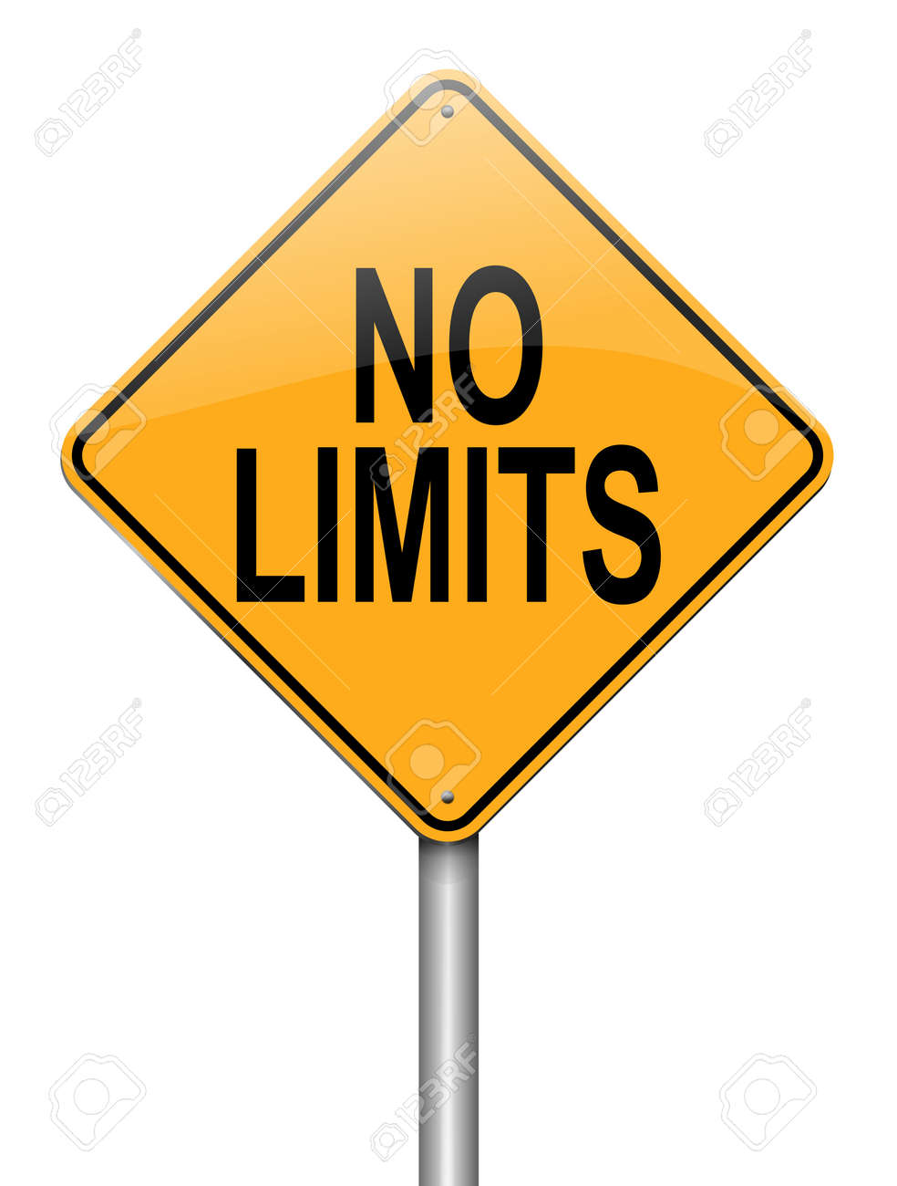 Illustration depicting a roadsign with a no limits concept. White background. Stock Photo - 16254998