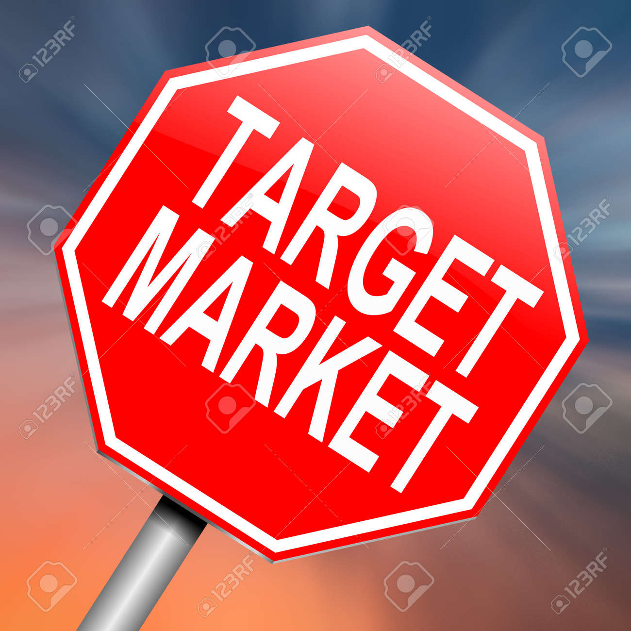 Illustration depicting a roadsign with a target market concept. Abstract background. Stock Photo - 16708702