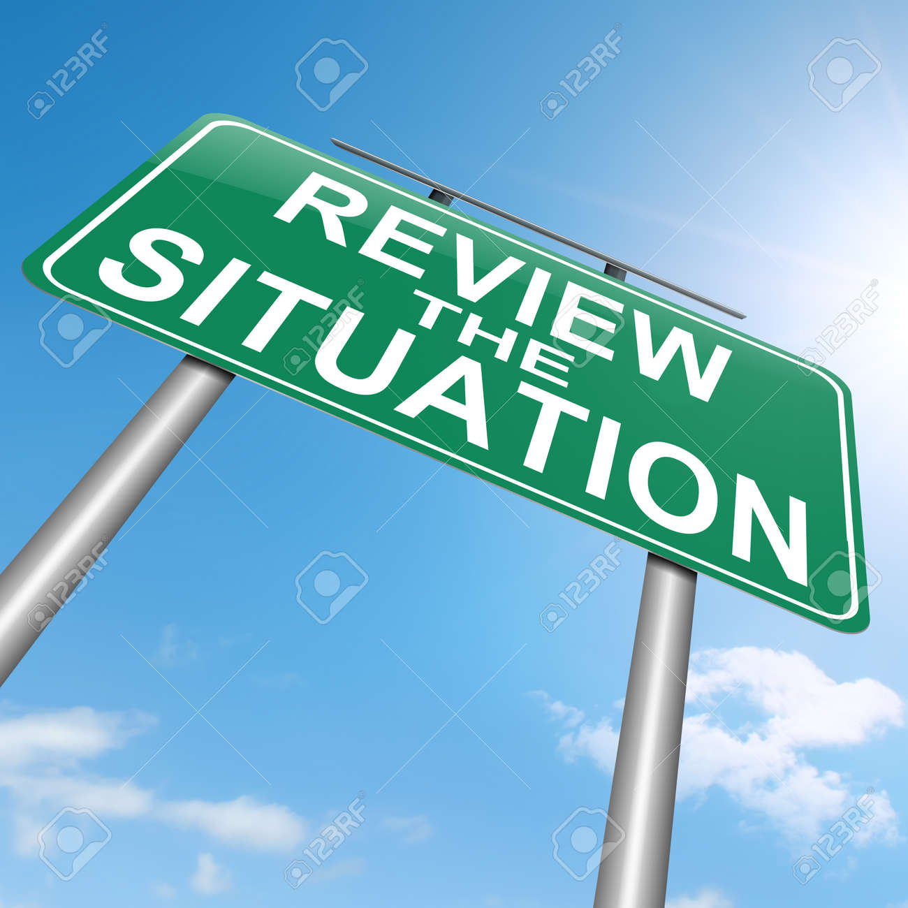 Illustration depicting a roadsign with a review the situation concept. White background. Stock Illustration - 16708701