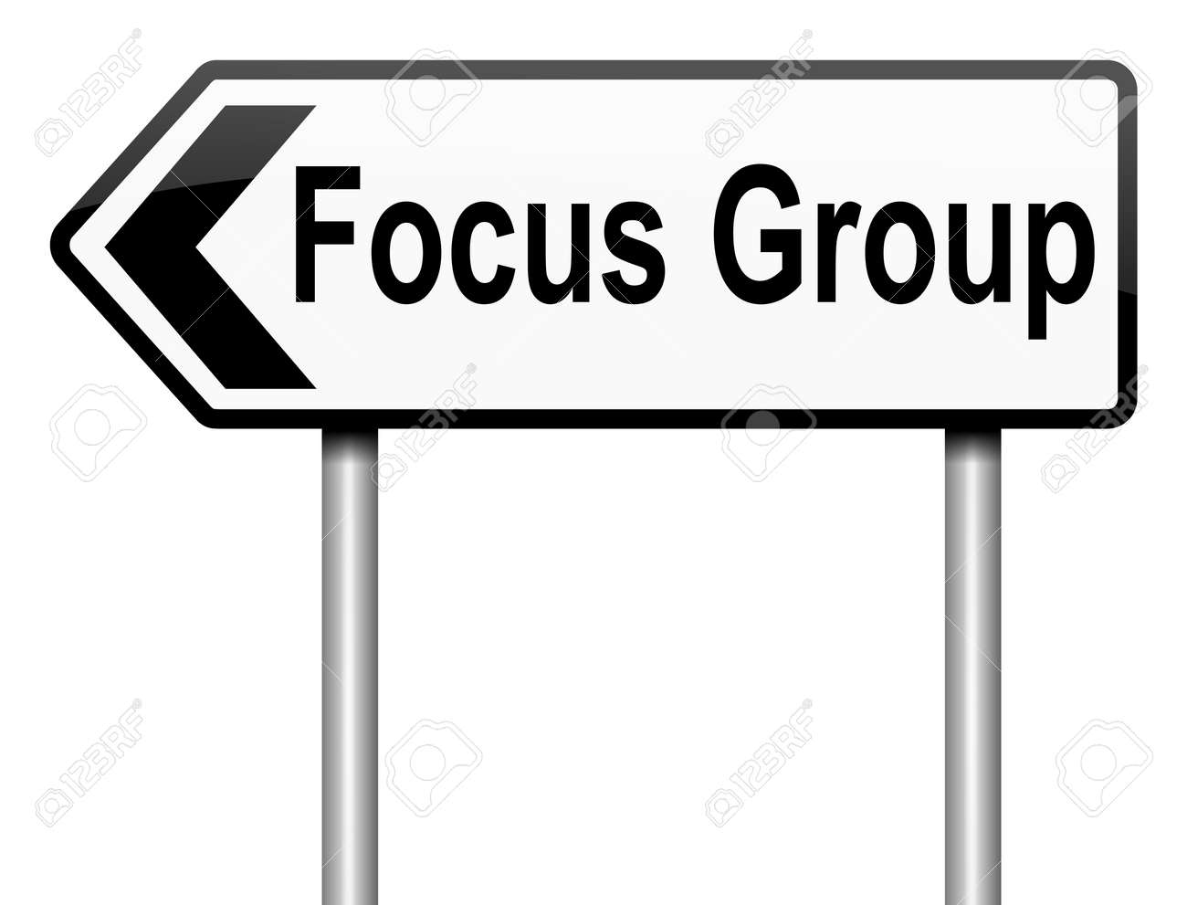 Illustration depicting a roadsign with a focus group concept. White background. Stock Illustration - 16708643