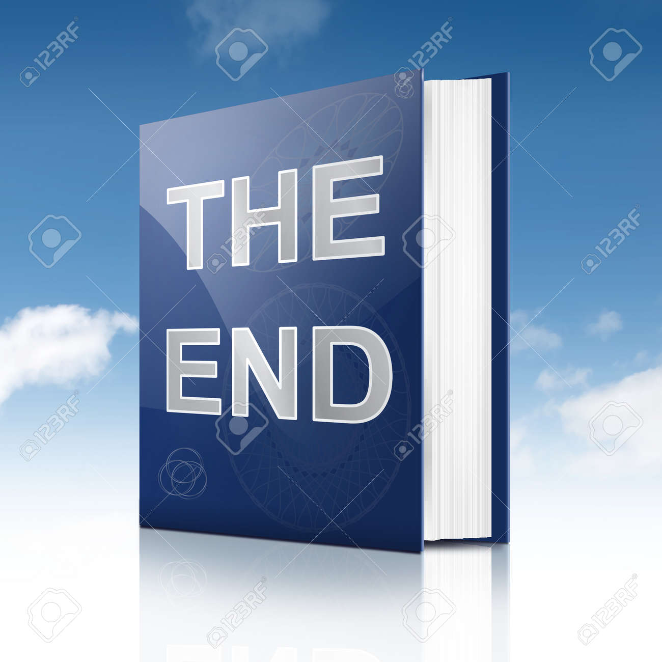 Illustration depicting a book with the end concept title  Sky background Stock Photo - 16952410
