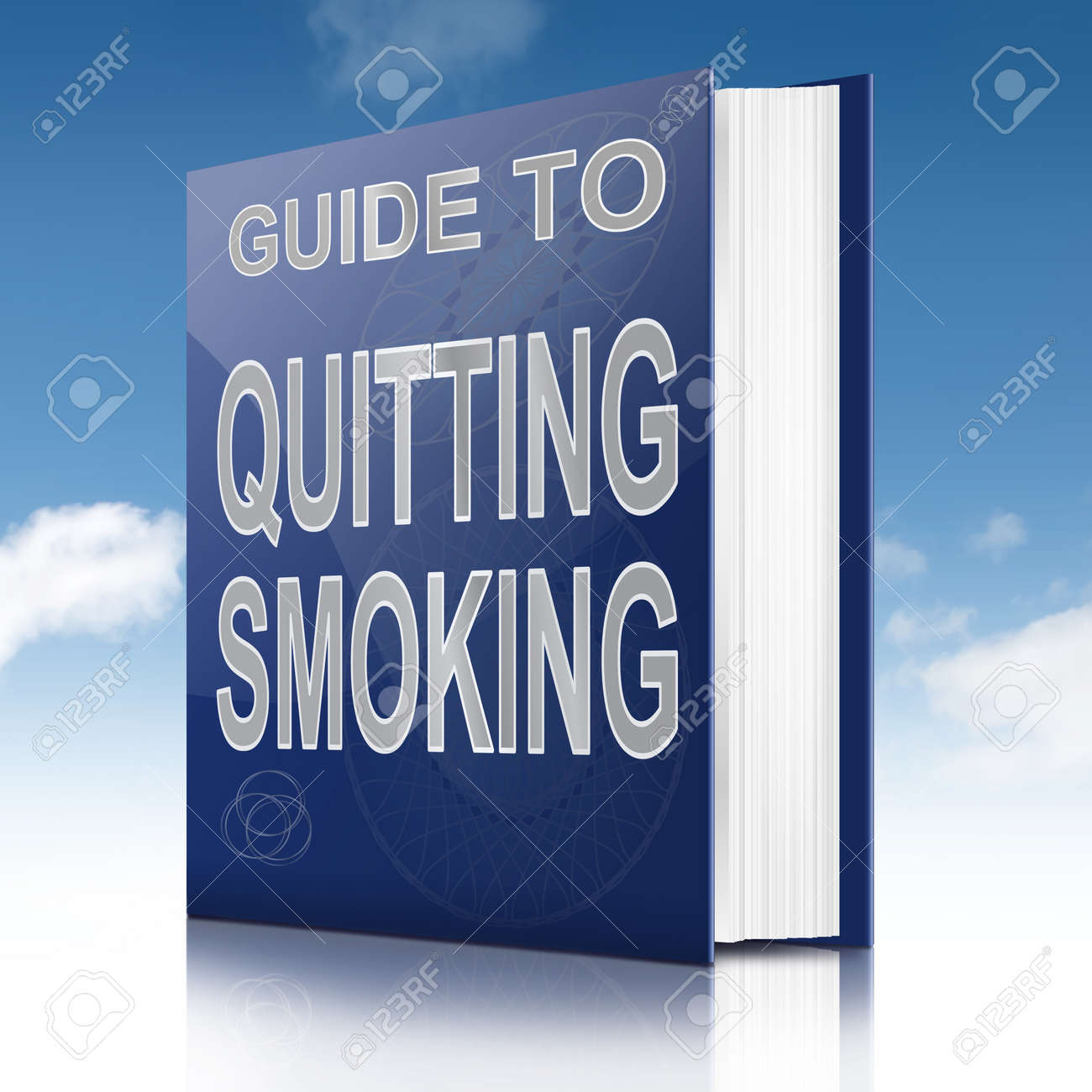 Illustration depicting a book with a quitting smoking concept title. Sky background. Stock Photo - 17223269