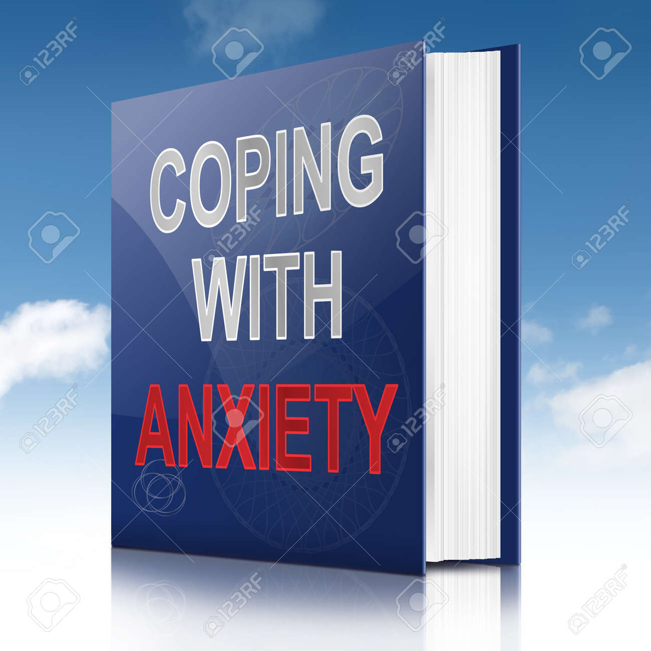 Illustration depicting a book with an anxiety concept title. Sky background. Stock Photo - 17278239