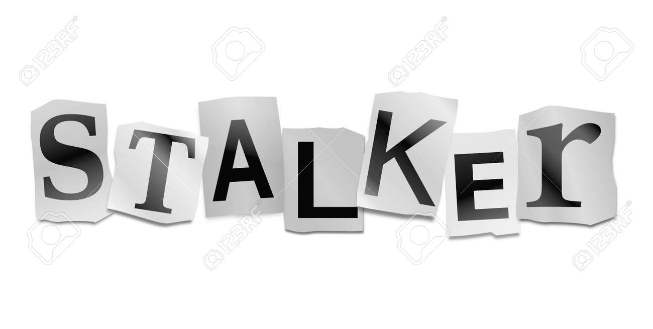 illustration illustration depicting cutout printed letters arranged to form the word stalker